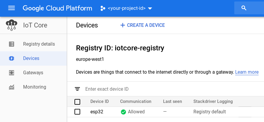 IoT - Using Cloud IoT Core to connect a microcontroller (ESP32) to